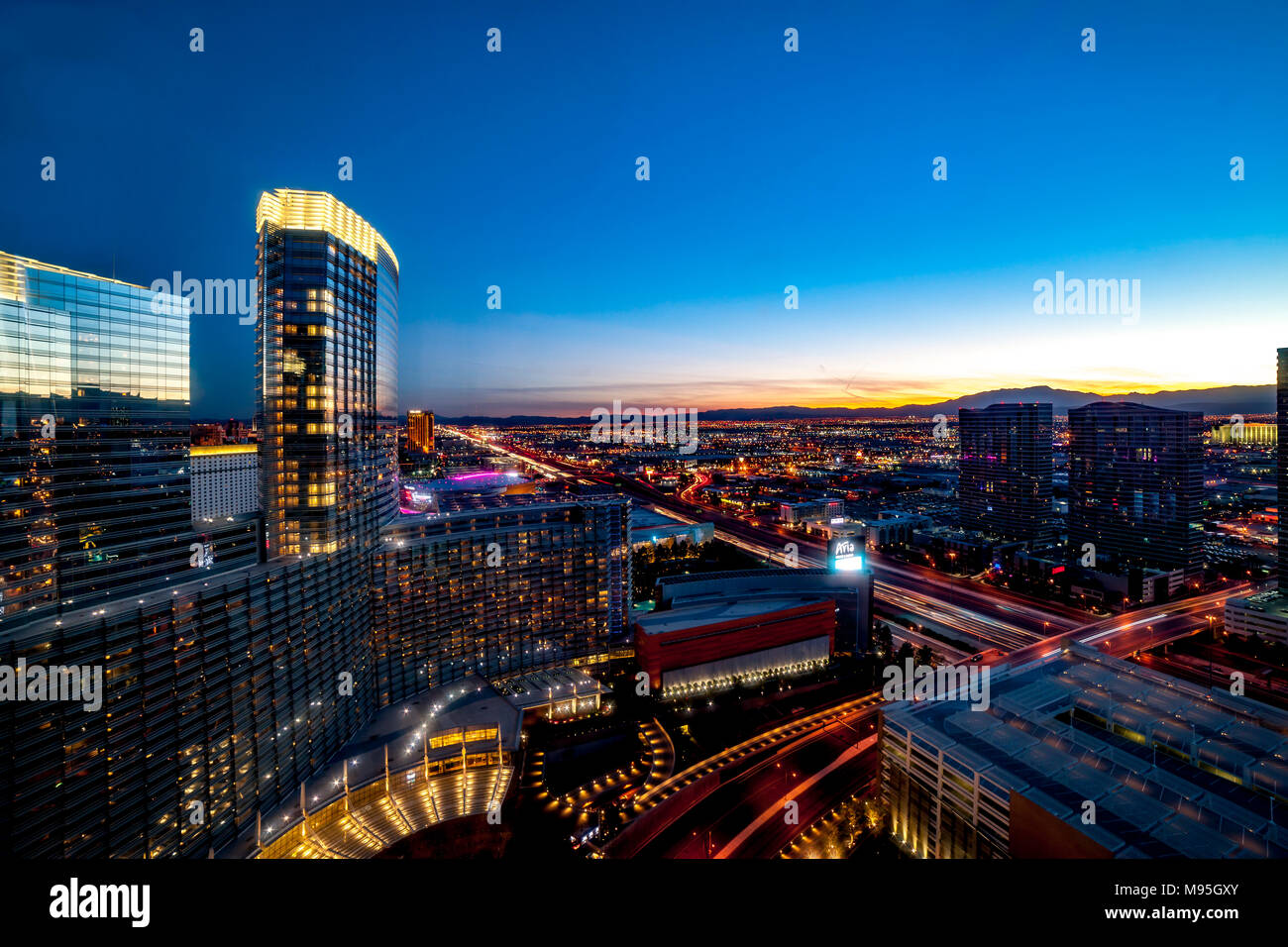 Aria Resort and Casiono viewed from 38th floor of the Vdara, Las Vegas, U.S.A. Stock Photo