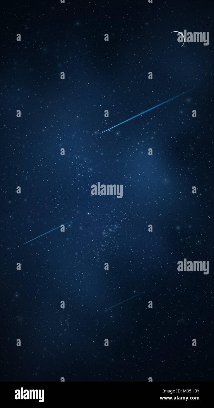 Realistic starry sky with a luminous blue milky way. Shooting stars. Moon month. The meteorites is falling. Shining stars in the dark sky. Background  - Stock Image