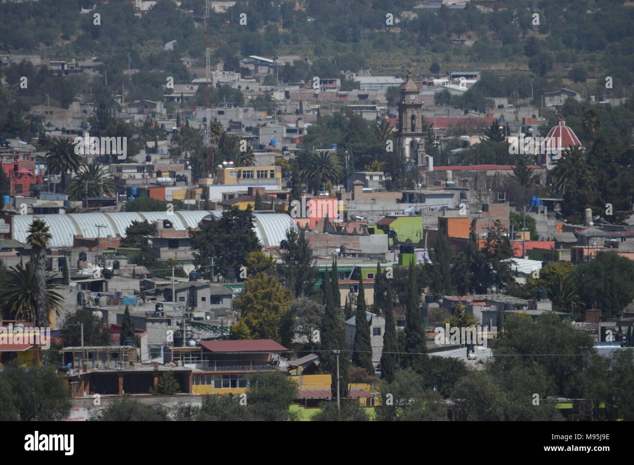 The view of the town San Martin de las Piramides from the Pyramid of the Sun at Teotihuacan, Mexico Stock Photo