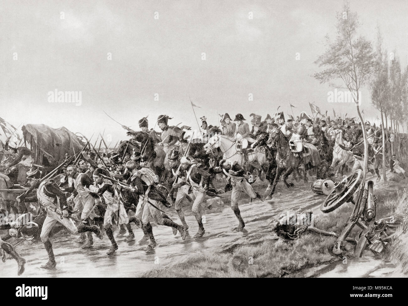 French soldiers running for safety after the Battle of Waterloo, 18th June, 1815.  From Hutchinson's History of the Nations, published 1915 - Stock Image
