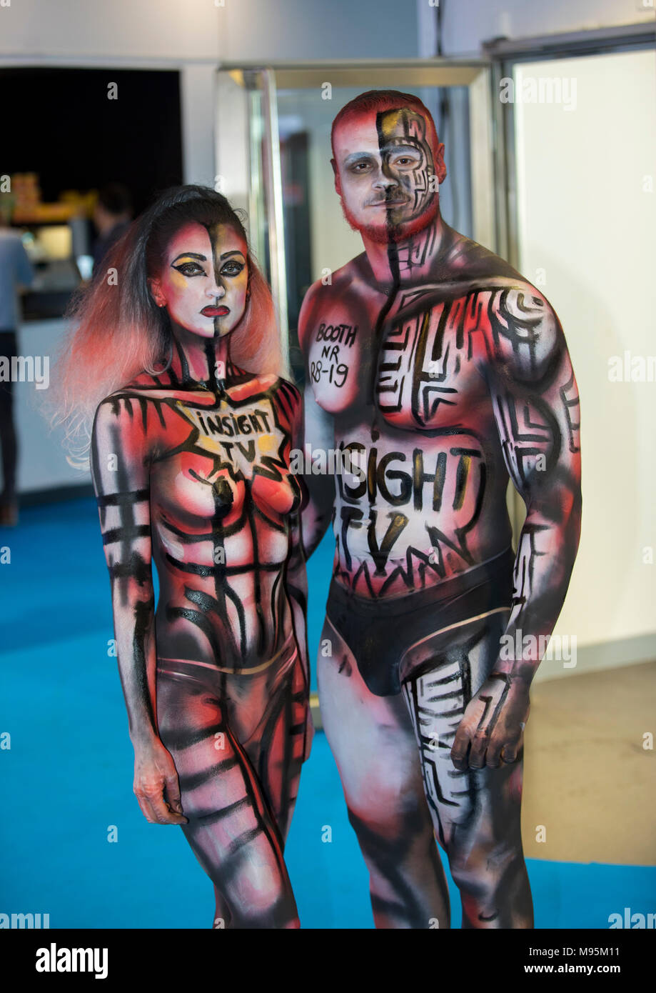 Performing Body Painting On Women And Man Stock Photo Alamy