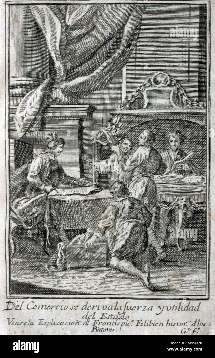 Meeting of merchants, 1758. Engraving. - Stock Image