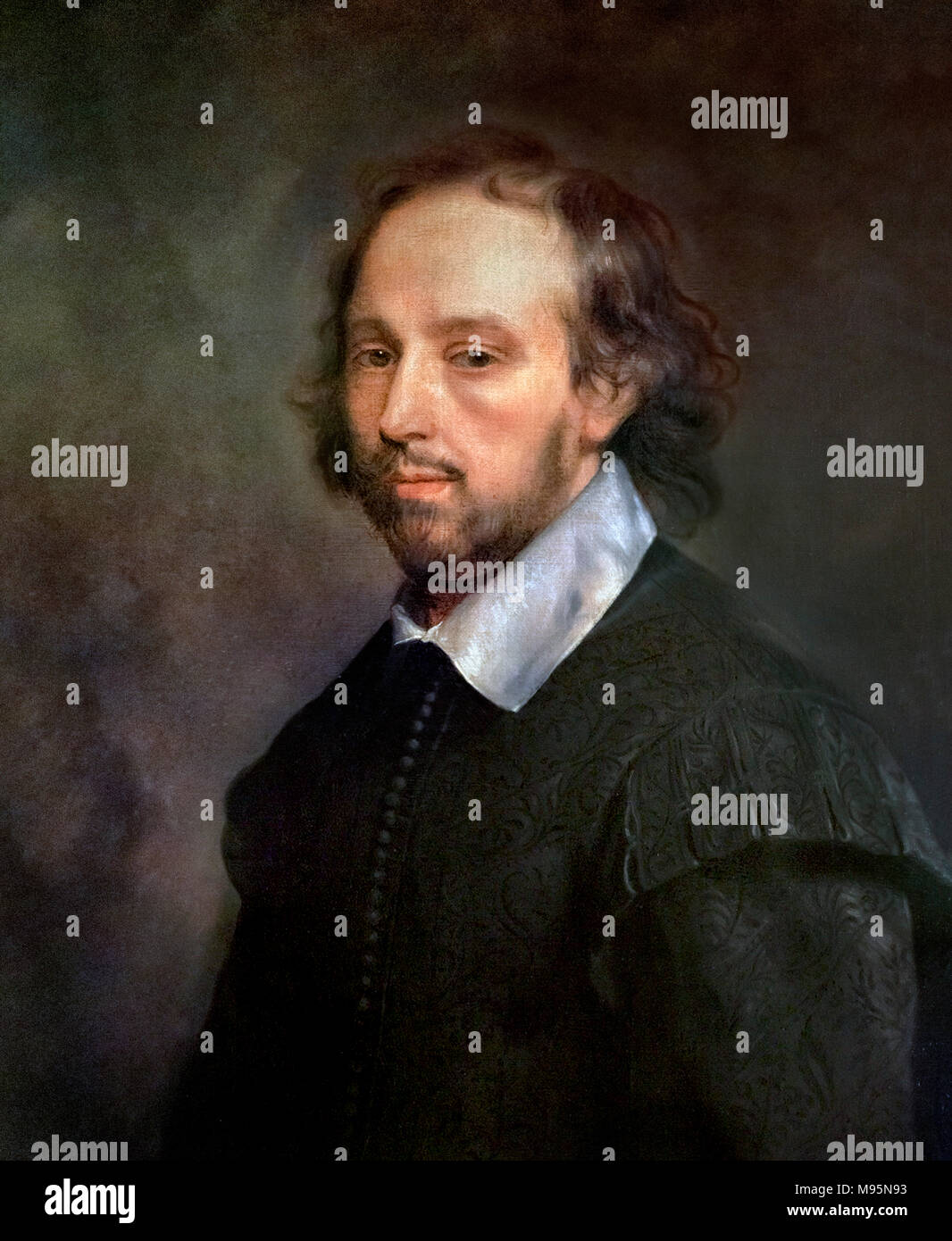 William Shakespeare. Portrait of Shakespeare by Gerard Soest, reproduction of a c.1667 painting. - Stock Image