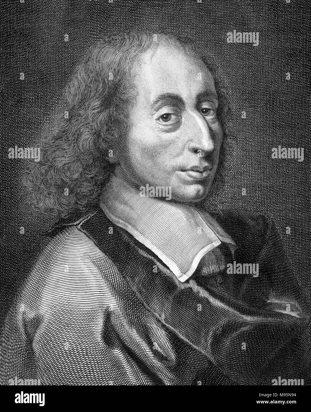 Blaise Pascal (1623-1662). Portrait of the French mathematician and  physicist.