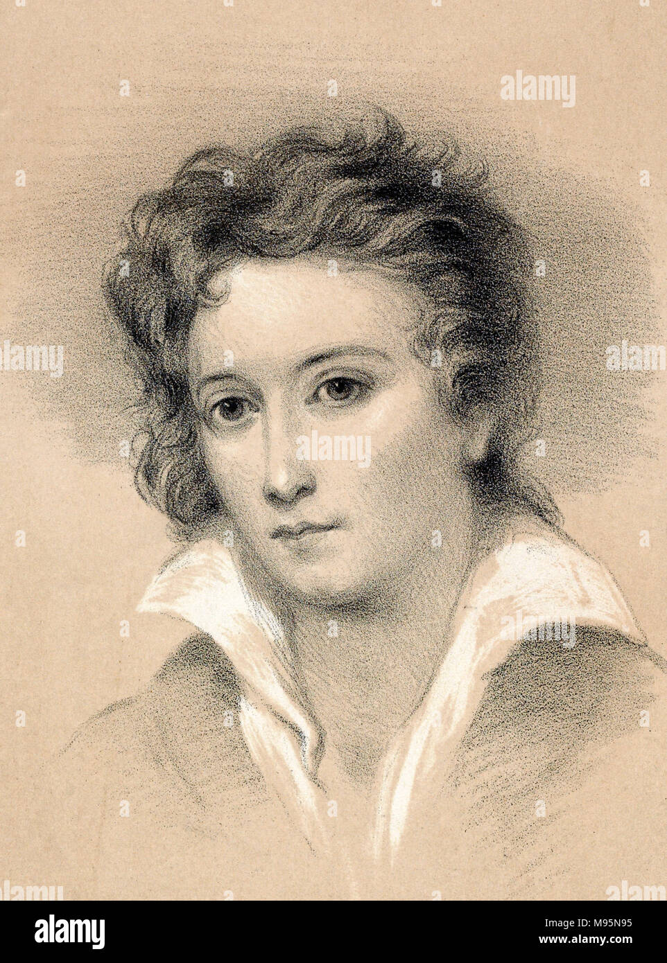 Percy Shelley. Portrait of the English romantic poet, Percy Bysshe Shelley (1792-1822), lithograph by John Alfred Vintner from the original picture by George Clint. - Stock Image
