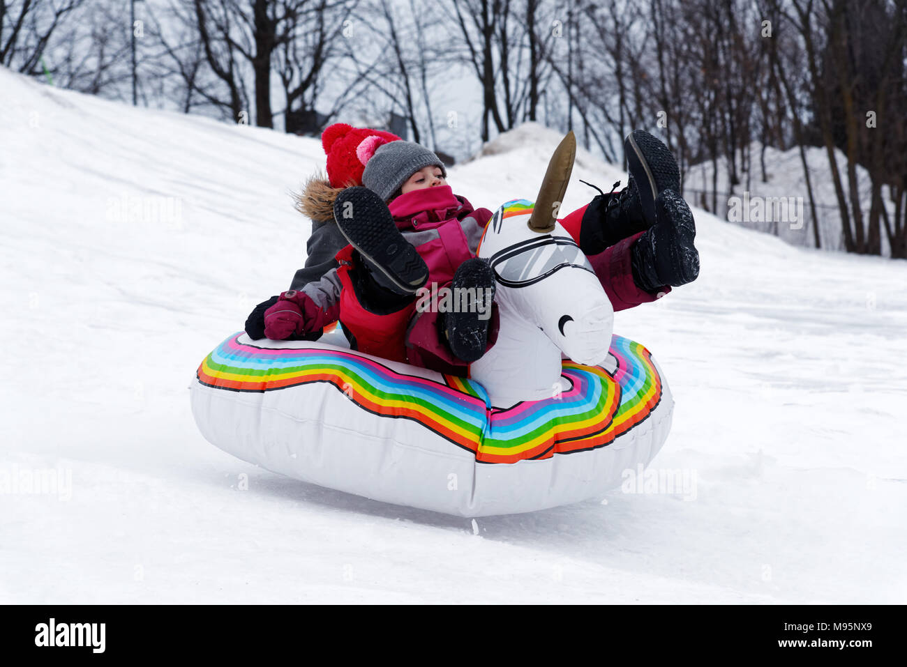 Two girl sliding in the snow on a blow-up unicorn, Quebec Canada - Stock Image