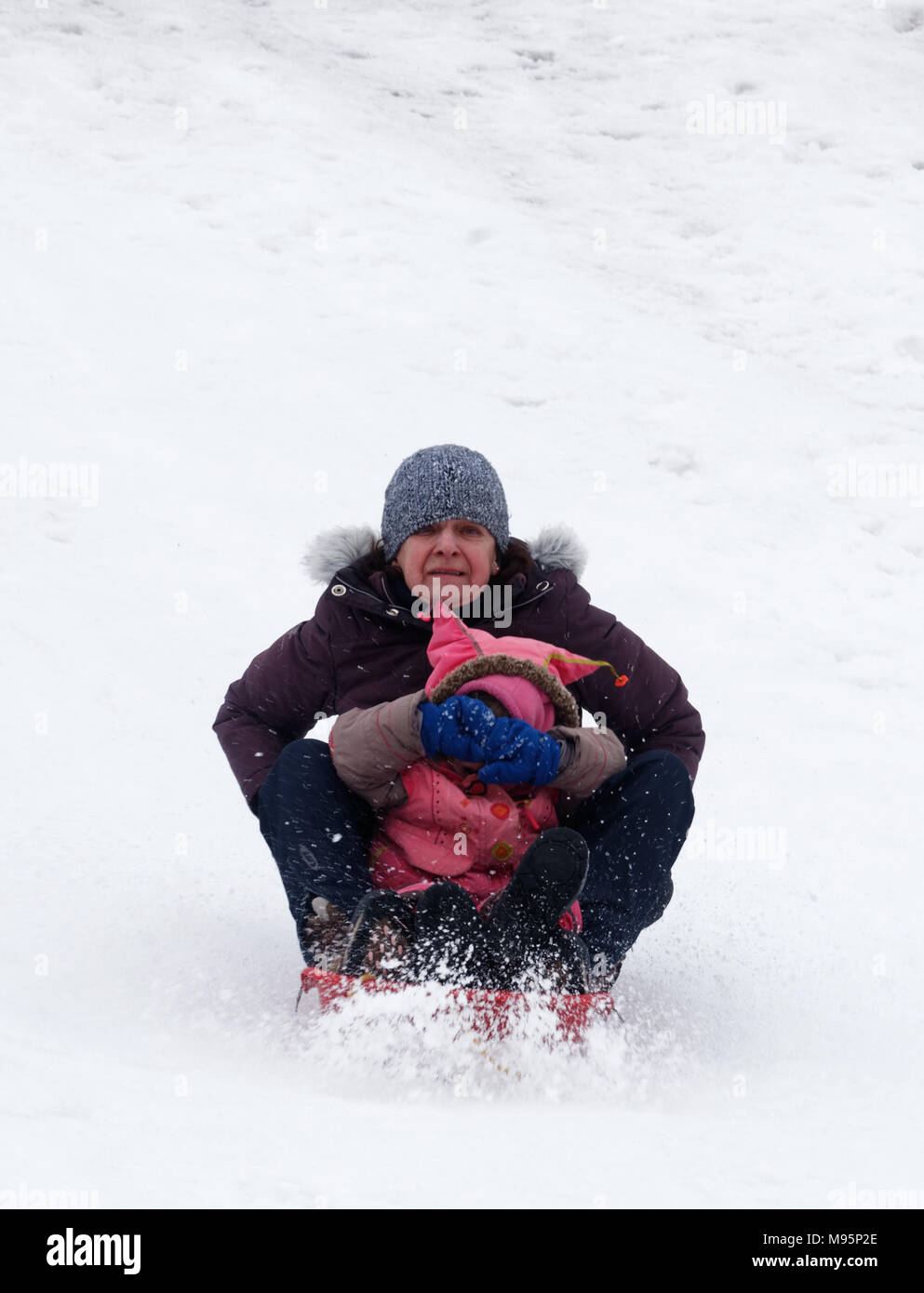 Grandmother looks scared and grand-daughter covers her eyes while sledging in Quebec, Canada - Stock Image