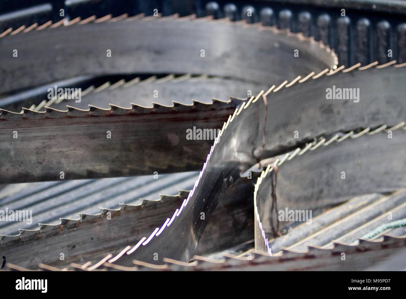 Giant band saw blade - Stock Image