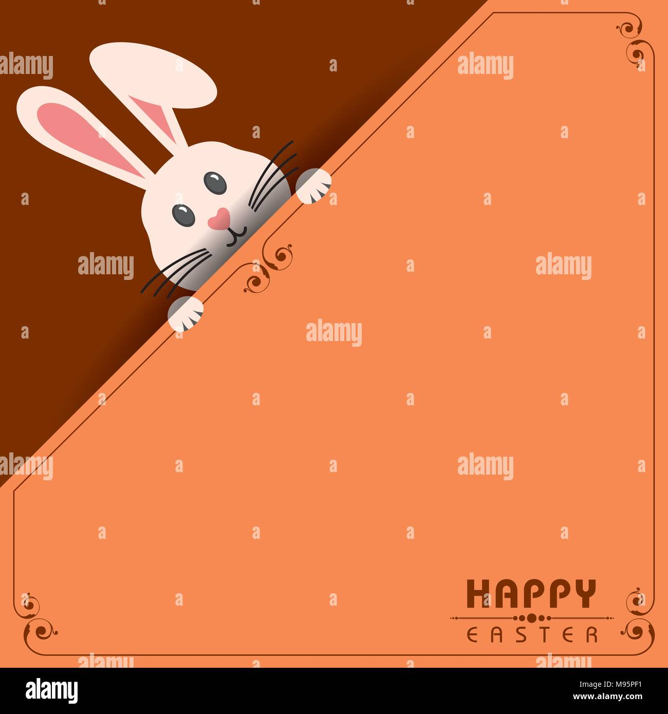 Colorful Happy Easter greeting card with rabbit, bunny, eggs and banners - Stock Vector