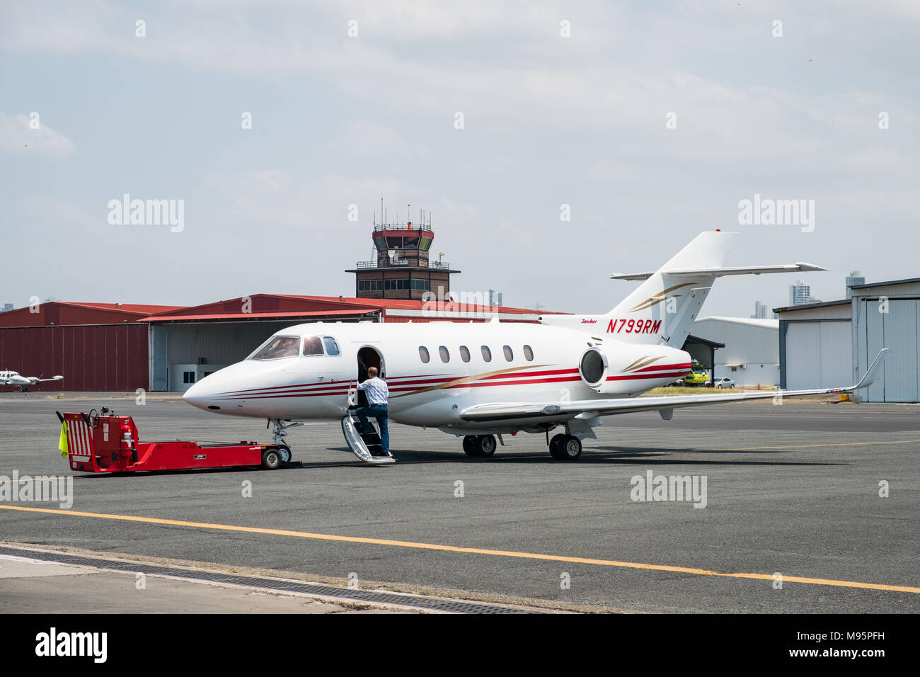 Panama City, Panama - March 2018: Private Jet, Raytheon Hawker 800XP at  Panama City Albrook Airport - Stock Image