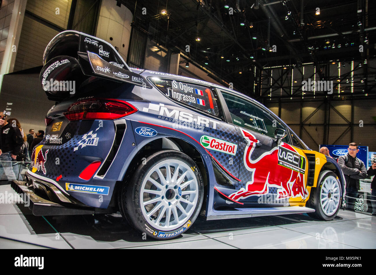 geneva switzerland march 17 2018 ford fiesta wrc ogier superfast sports car presented at. Black Bedroom Furniture Sets. Home Design Ideas