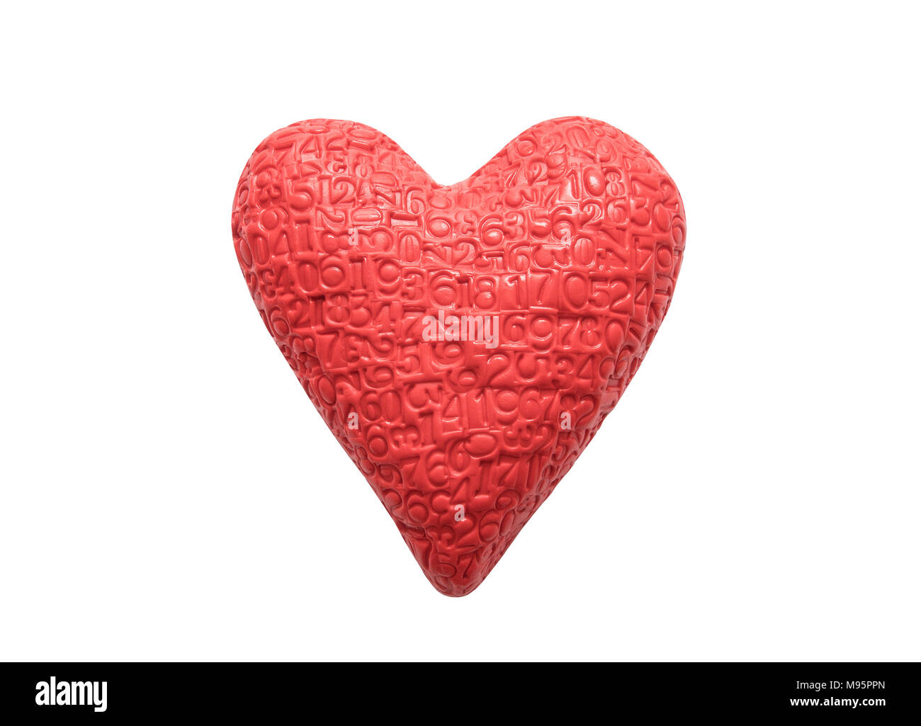 Red heart with imprinted digits isolated on white background - Stock Image