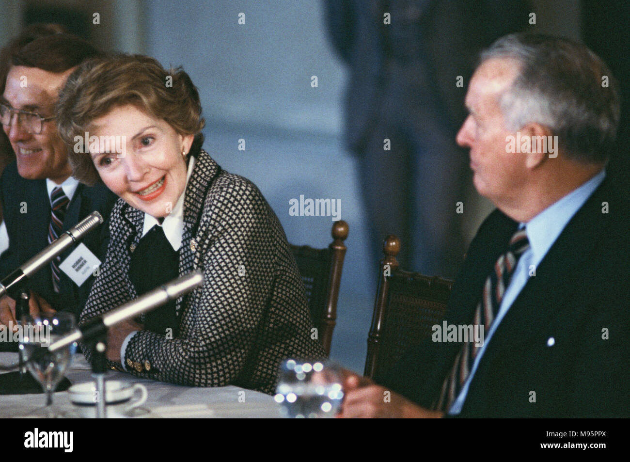 "First Lady Nancy Reagan on a panel in Dallas, Texas in February 1982.  This is part of an anti drug trip, ""Just Say No"" for the First Lady  Photograph by Dennis Brack - Stock Image"