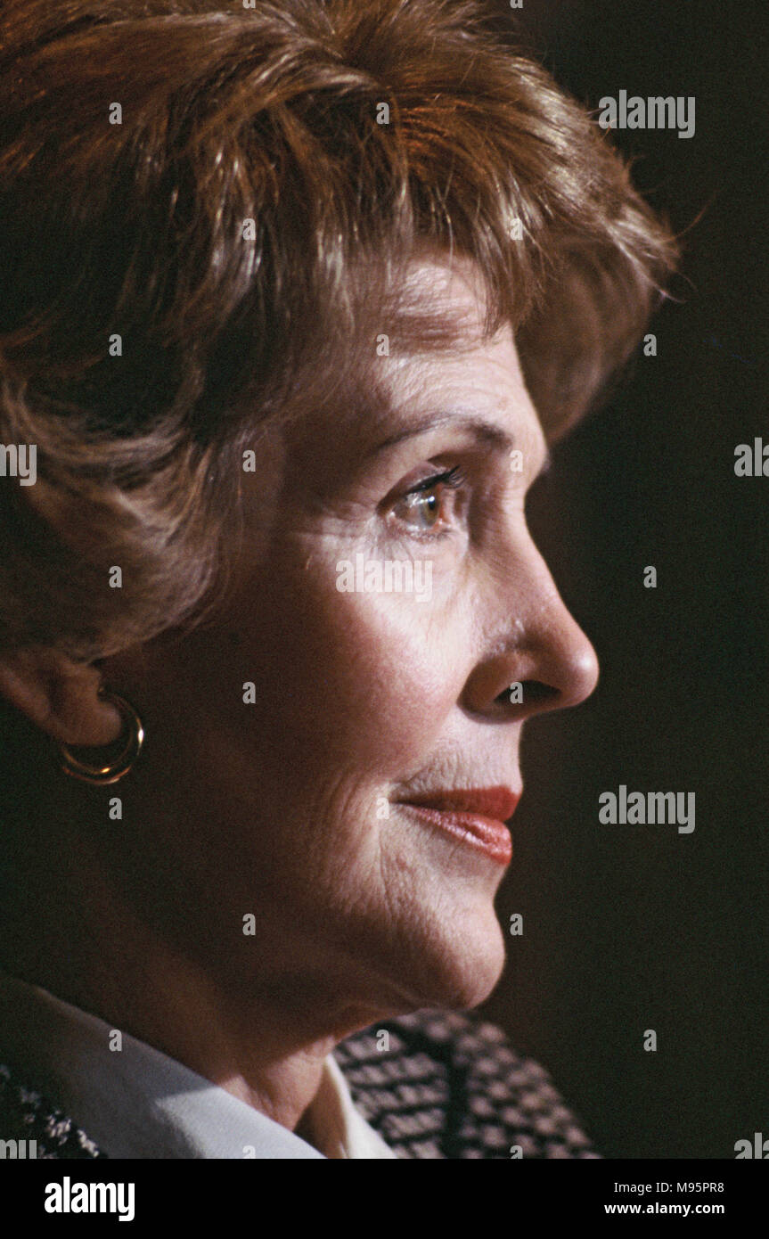"First Lady Nancy Reagan in Dallas, Texas in February 1982.  This is part of an anti drug trip, ""Just Say No"" for the First Lady  Photograph by Dennis Brack - Stock Image"