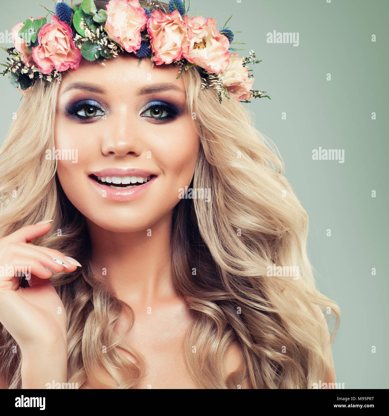 Portrait Of Beautiful Young Woman With Makeup Blonde Hair