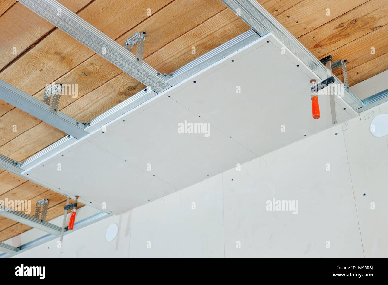 High Quality Installation Of False Ceiling Of Gypsum Board   Stock Image