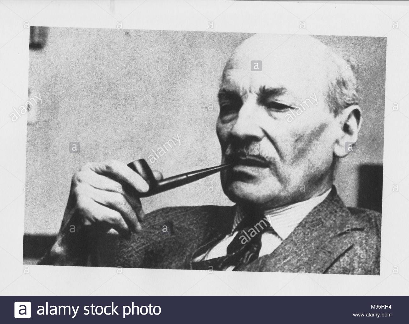 Clement Attlee (January 2, 1883 - October 8, 1967), British Prime Minister 1945-1951. Labour Party leader for 20 years, and presided over the 1945 - 1951 Labour government. This was the most significant reforming administration of 20th century Britain. It introduced the National Health Service, nationalized one fifth of the British economy, and granted independence to India. - Stock Image
