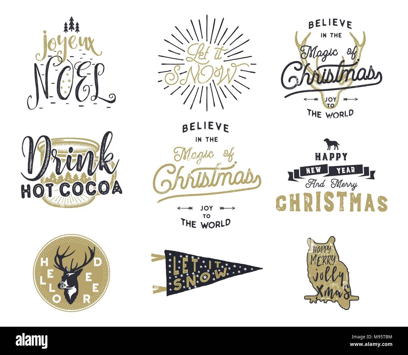 Big Merry Christmas Typography Quotes Wishes Bundle Sunbursts