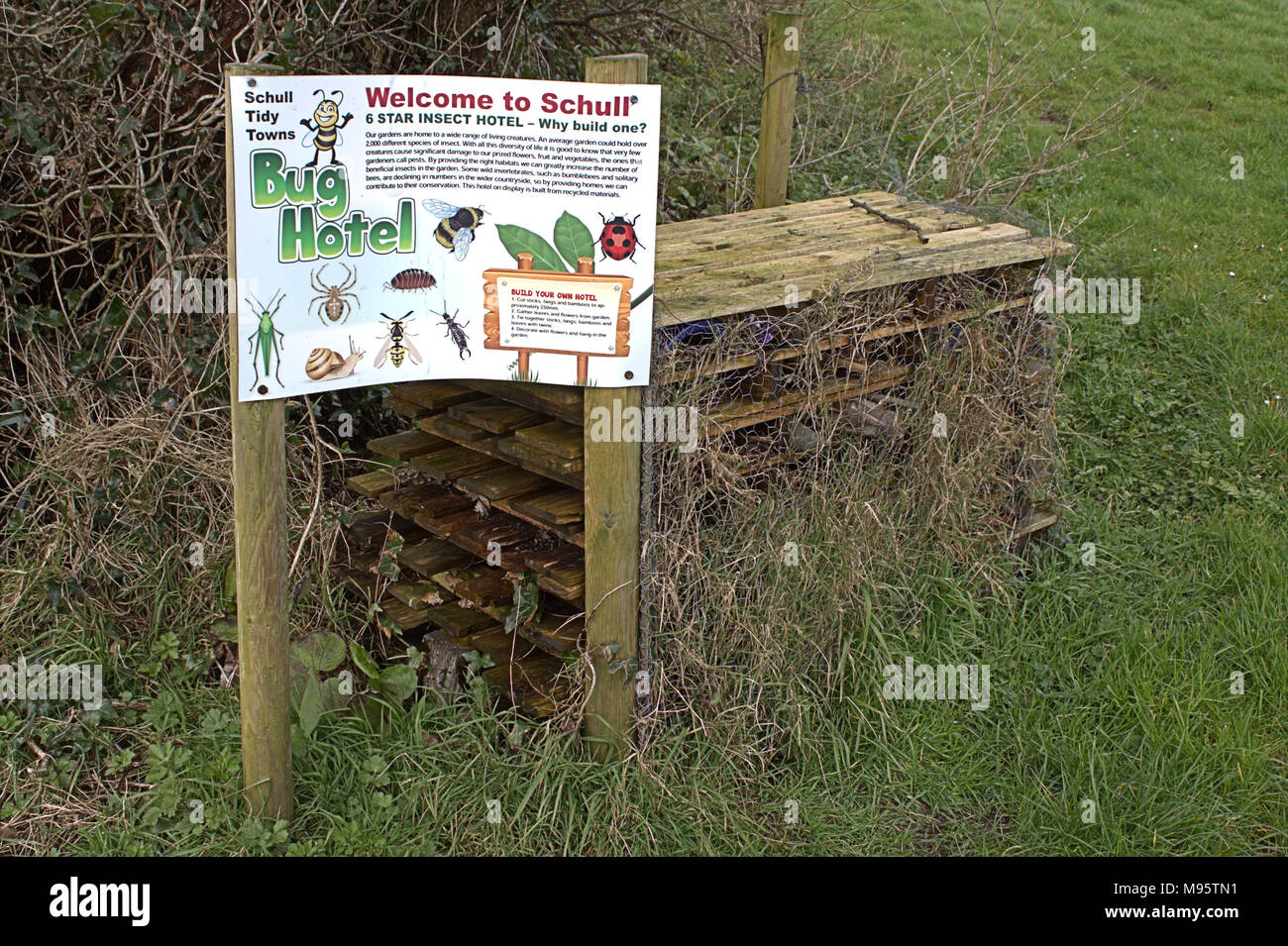 instructions for making in insect friendly habitat in a local park. - Stock Image