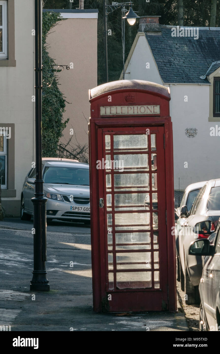 A working example of a K6 red telephone box in Main Street, Abernethy, Perthshire, Scotland, UK. - Stock Image
