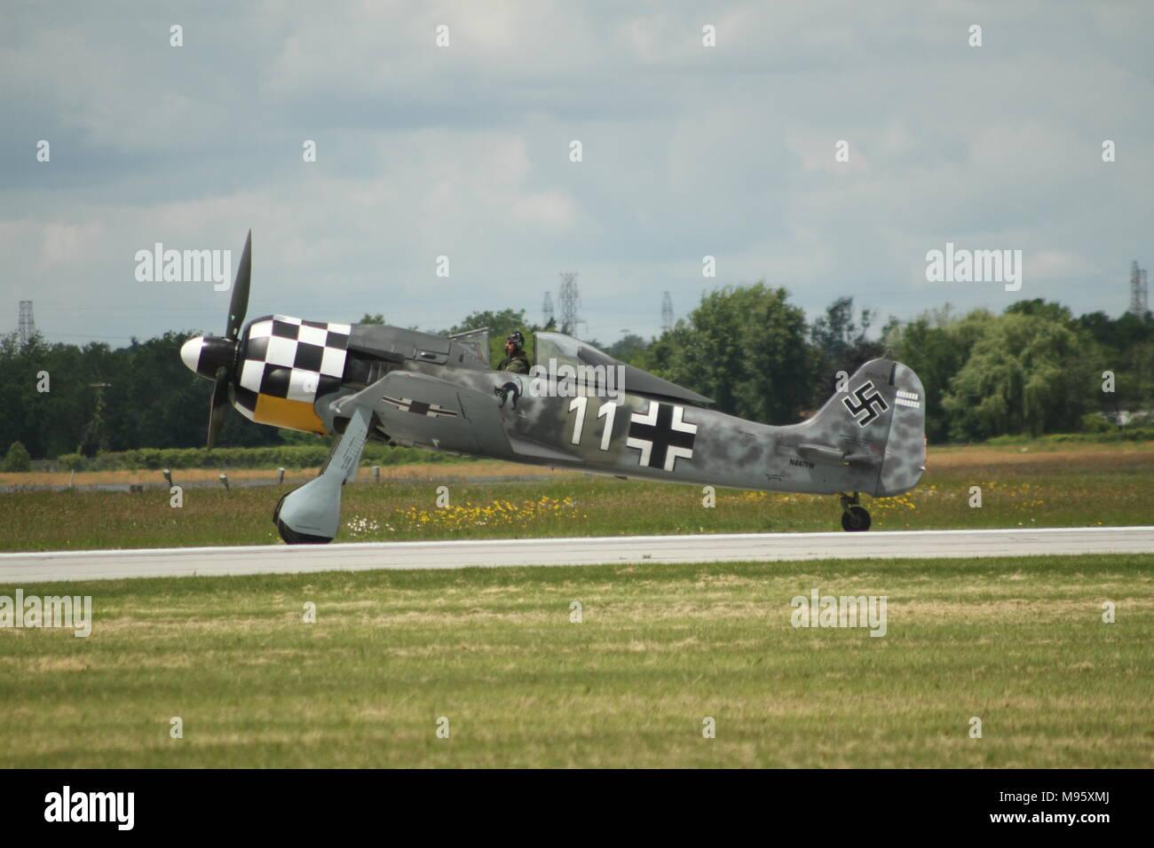 German Focke-Wulf Fw 190 Ready to take flight at the Hamilton Airshow - Stock Image