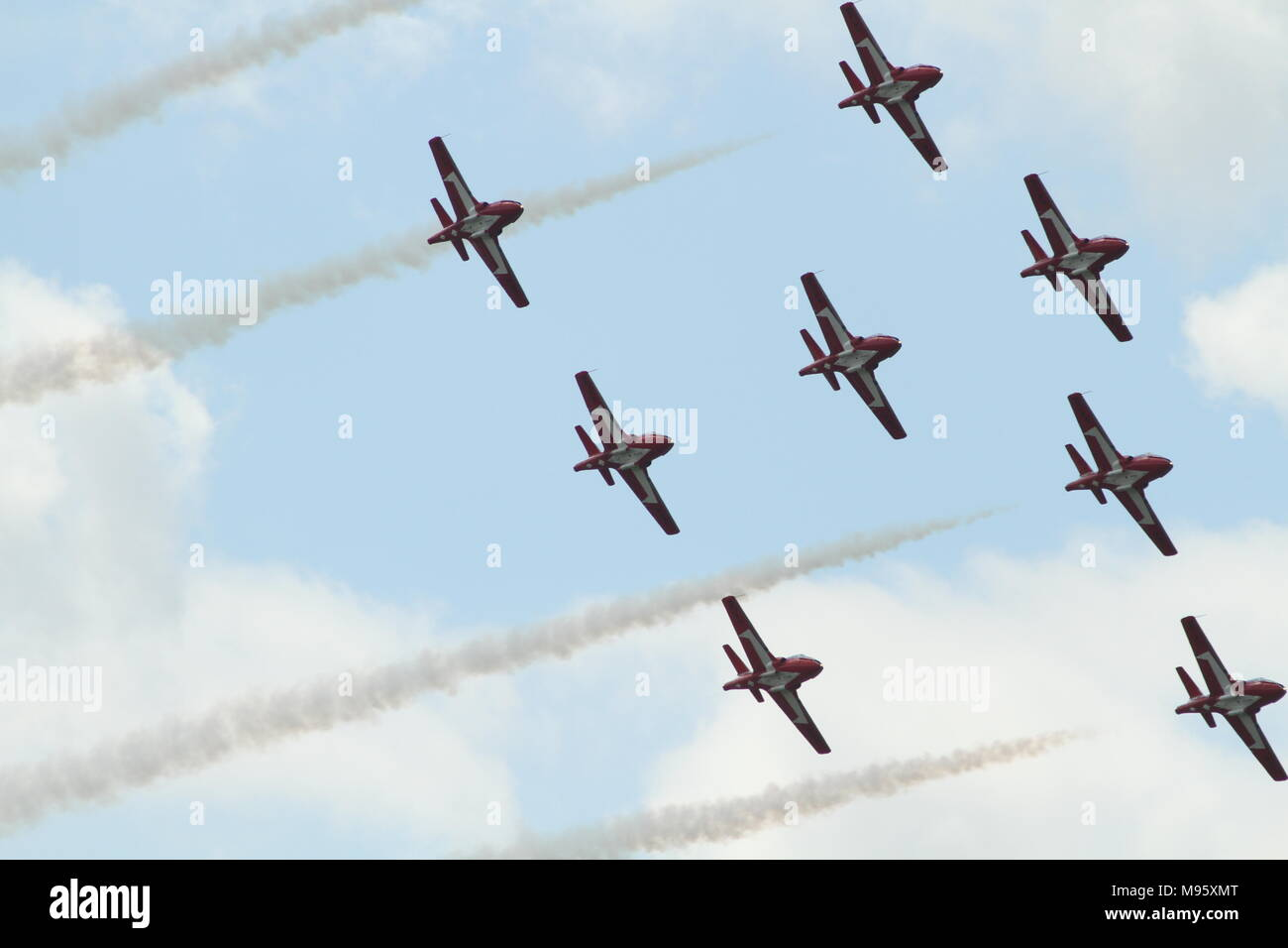 Canadian Forces 431 Air Demonstration Squadron also know as the snowbirds performing at the Hamilton Air Show Stock Photo