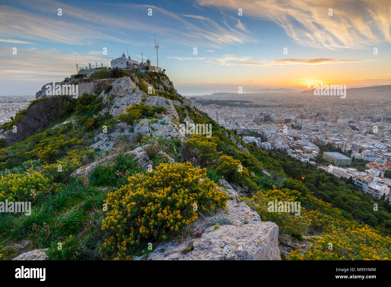 View of Athens from Lycabettus hill at sunset, Greece. Stock Photo