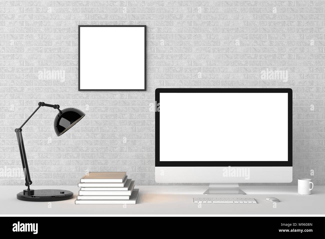 Modern workspace with isolated empty frame on wall and isolated ...
