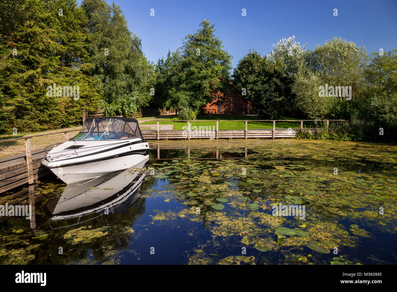 Boat moored in an inlet of Lough Derg, County Clare, Ireland on a sunny day - Stock Image