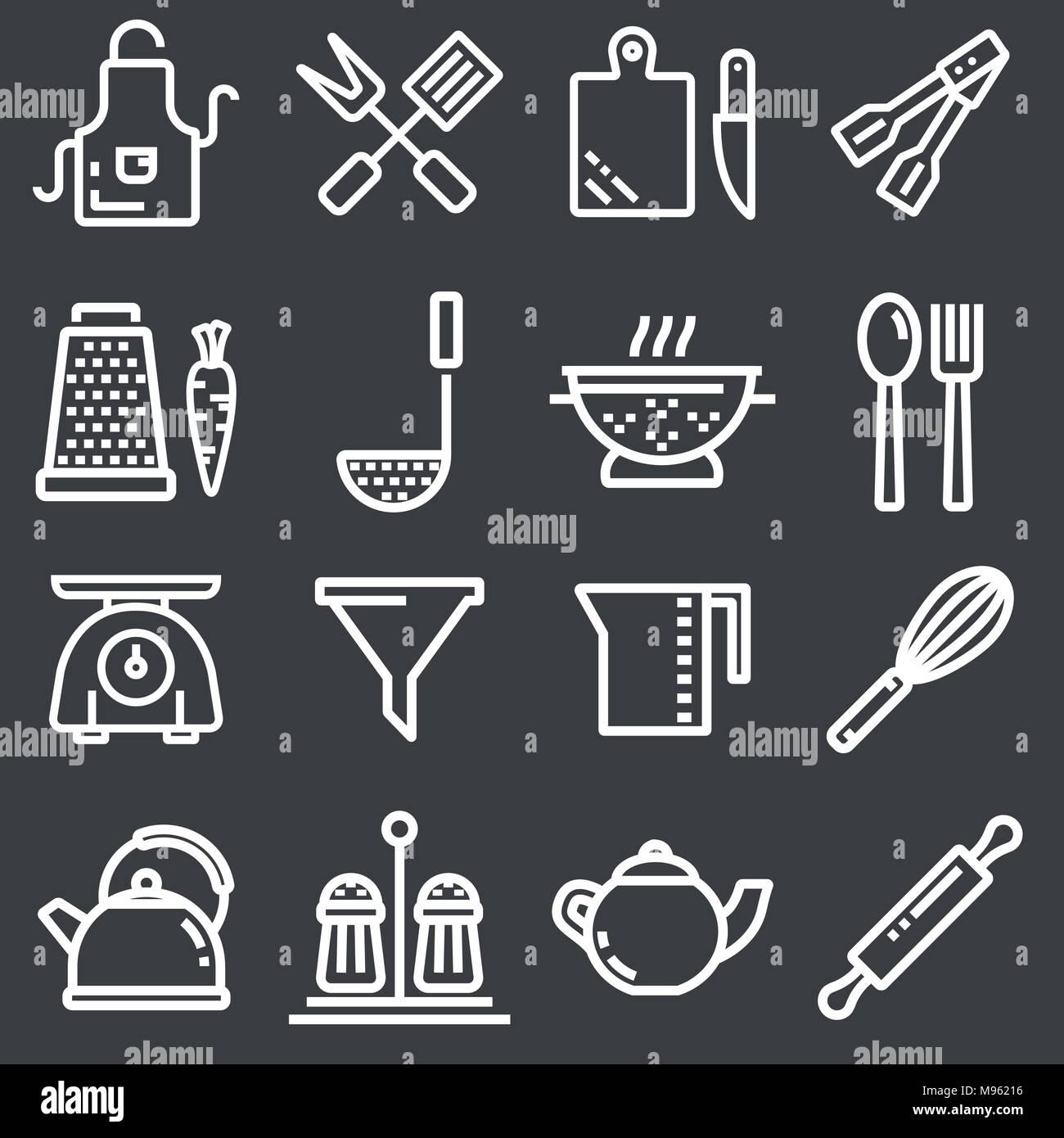 Kitchen utensils icons, thin line - Stock Vector