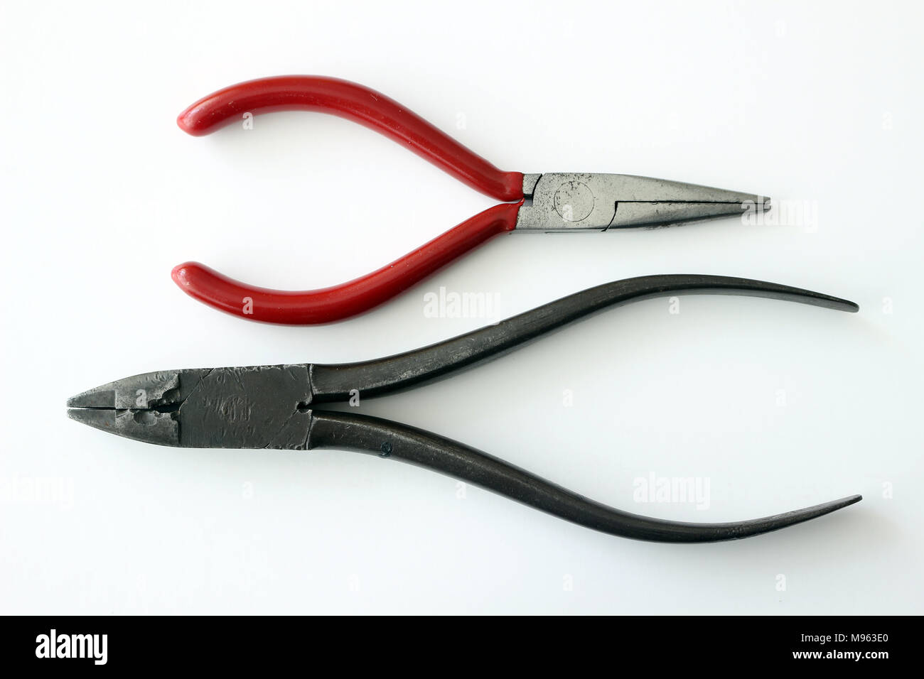 Flat nose and needle nose pliers Stock Photo