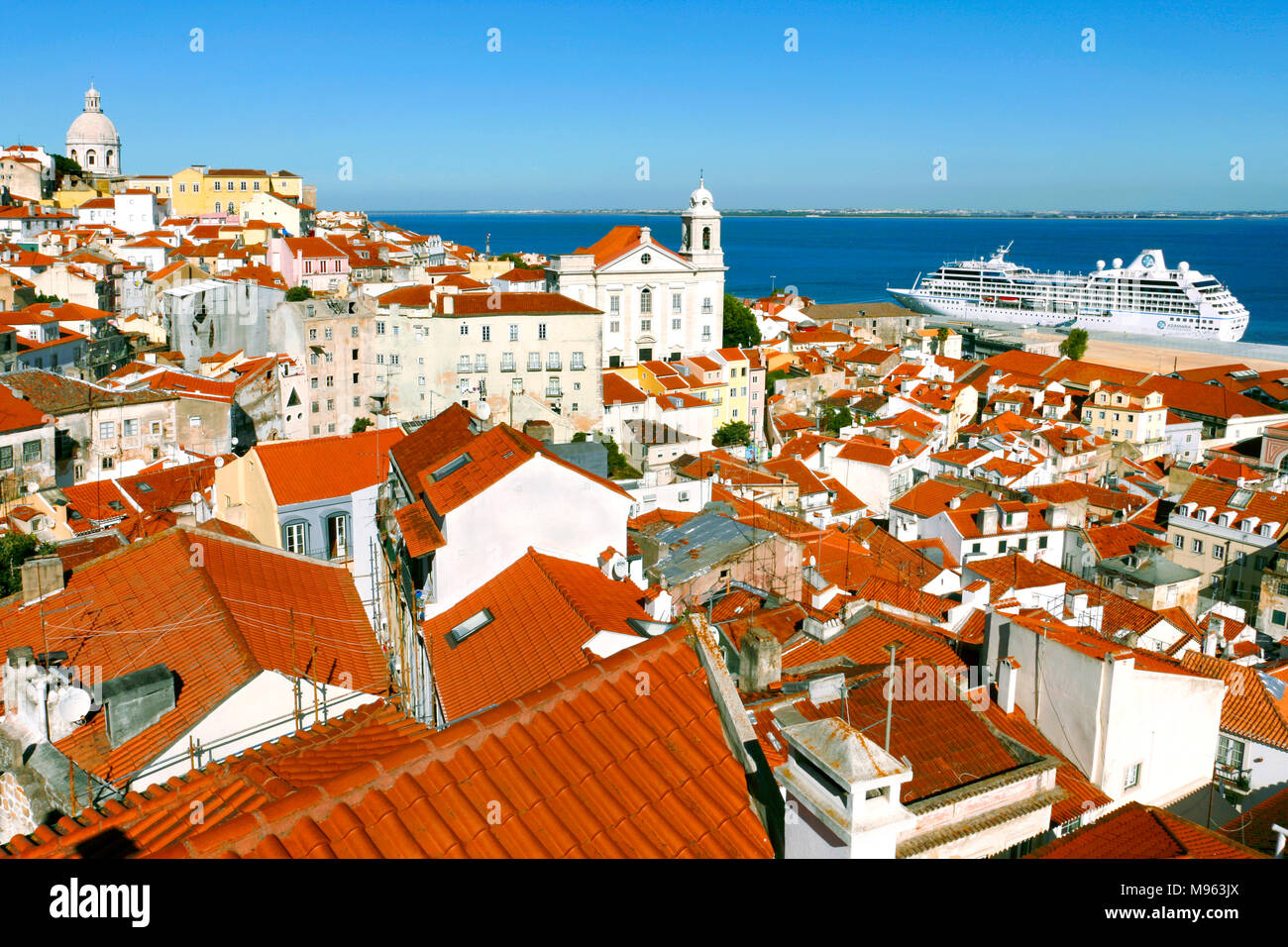 Panorama of the old Alfama District panorama and a Cruise ship, Lisbon, Portugal - Stock Image