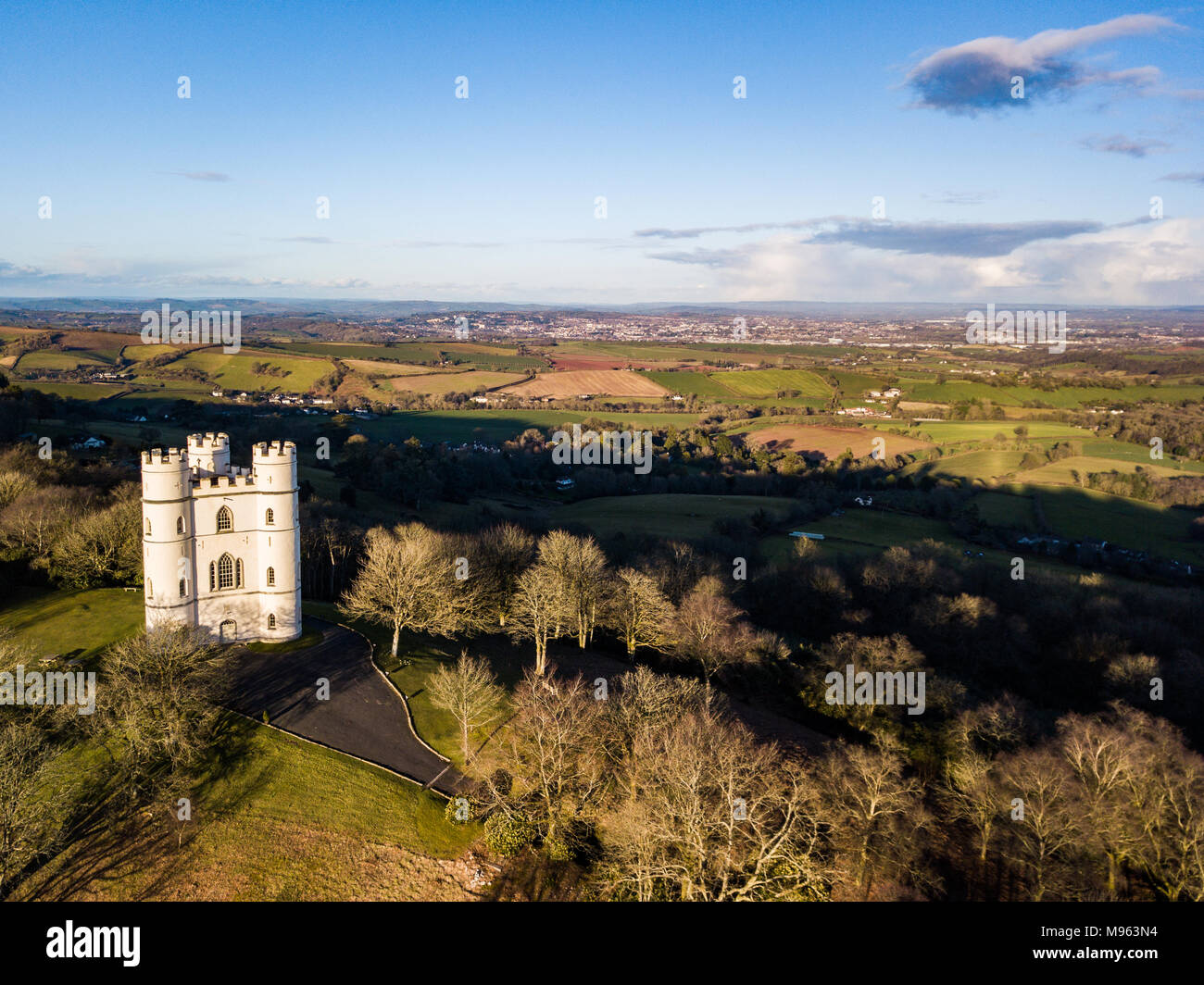 An aerial view of Belvedere castle at Haldon forest in Devon, United Kingdom Stock Photo