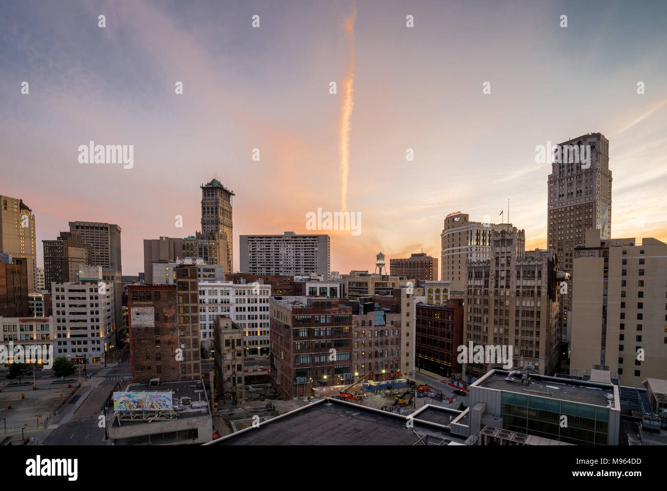 View of downtown Detroit, USA from above - Stock Image