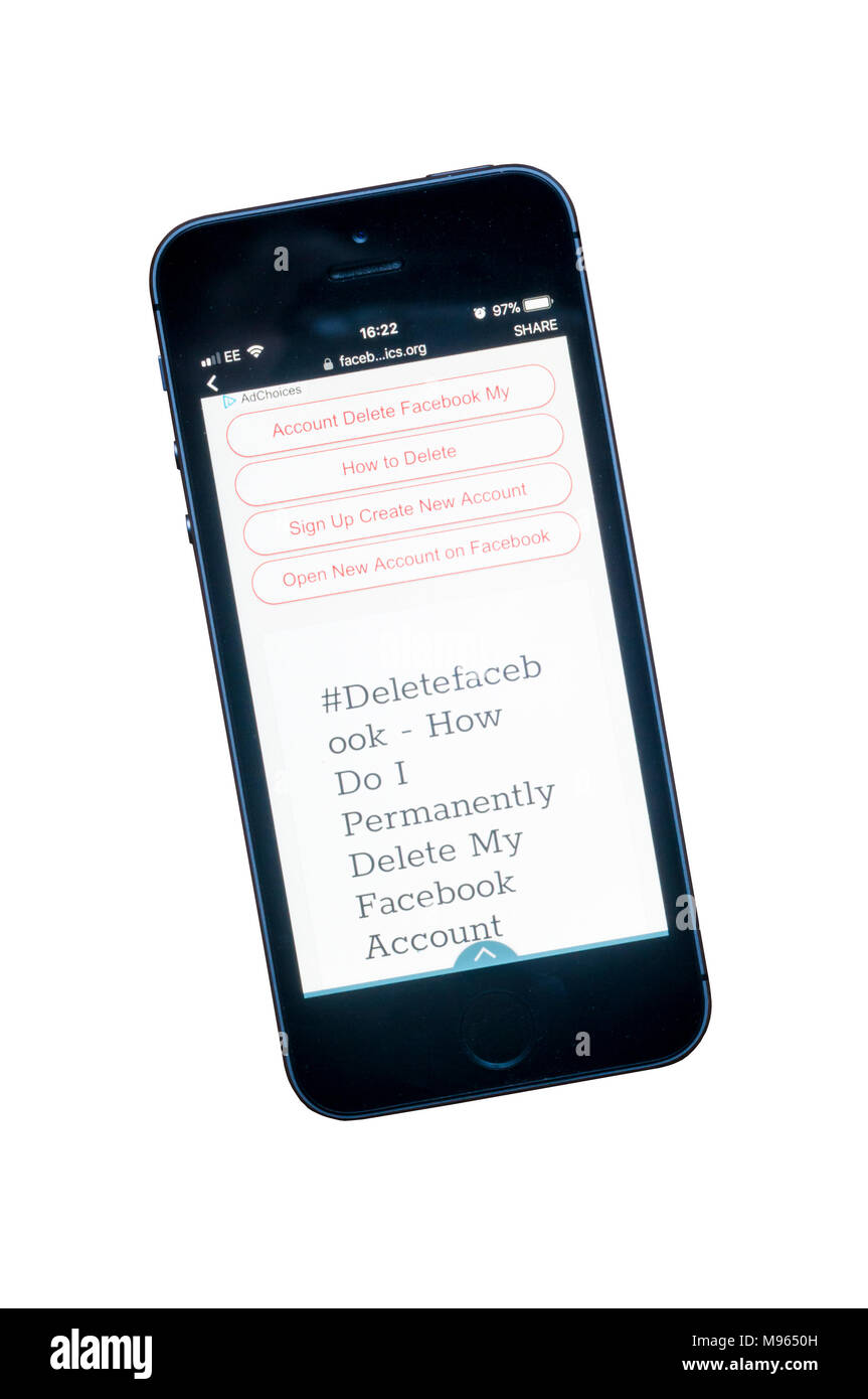 Screens showing permanent deletion of a facebook account on an iphone 6. - Stock Image