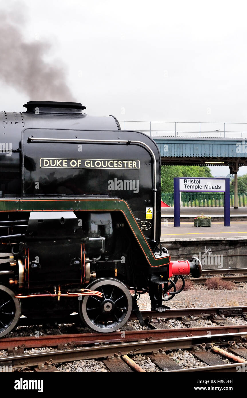 Unique BR Standard Pacific No 71000 Duke of Gloucester waits to leave Bristol Temple Meads with the Torbay Express to Devon. - Stock Image