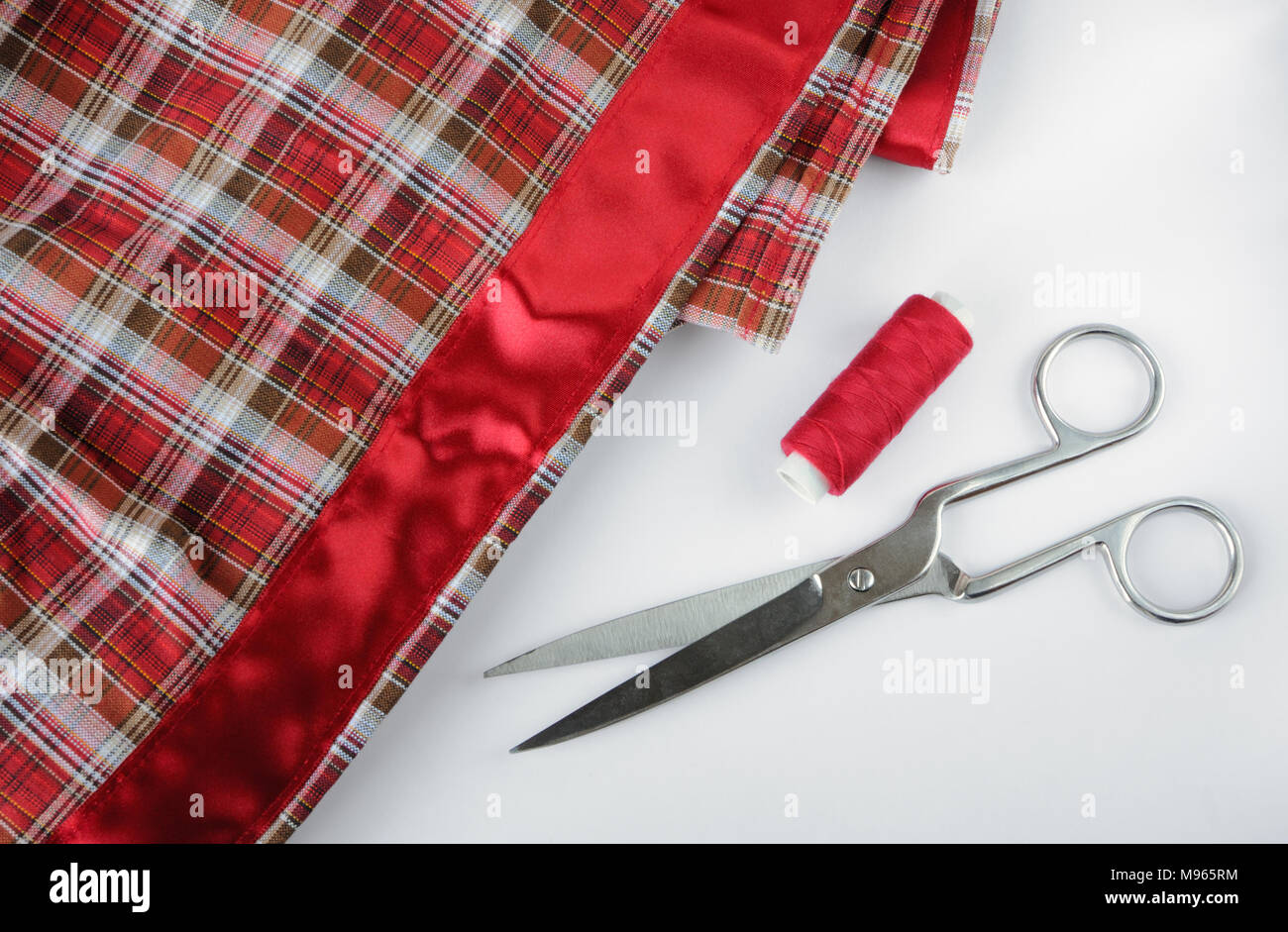 Accessory of the tailor on white background - Stock Image