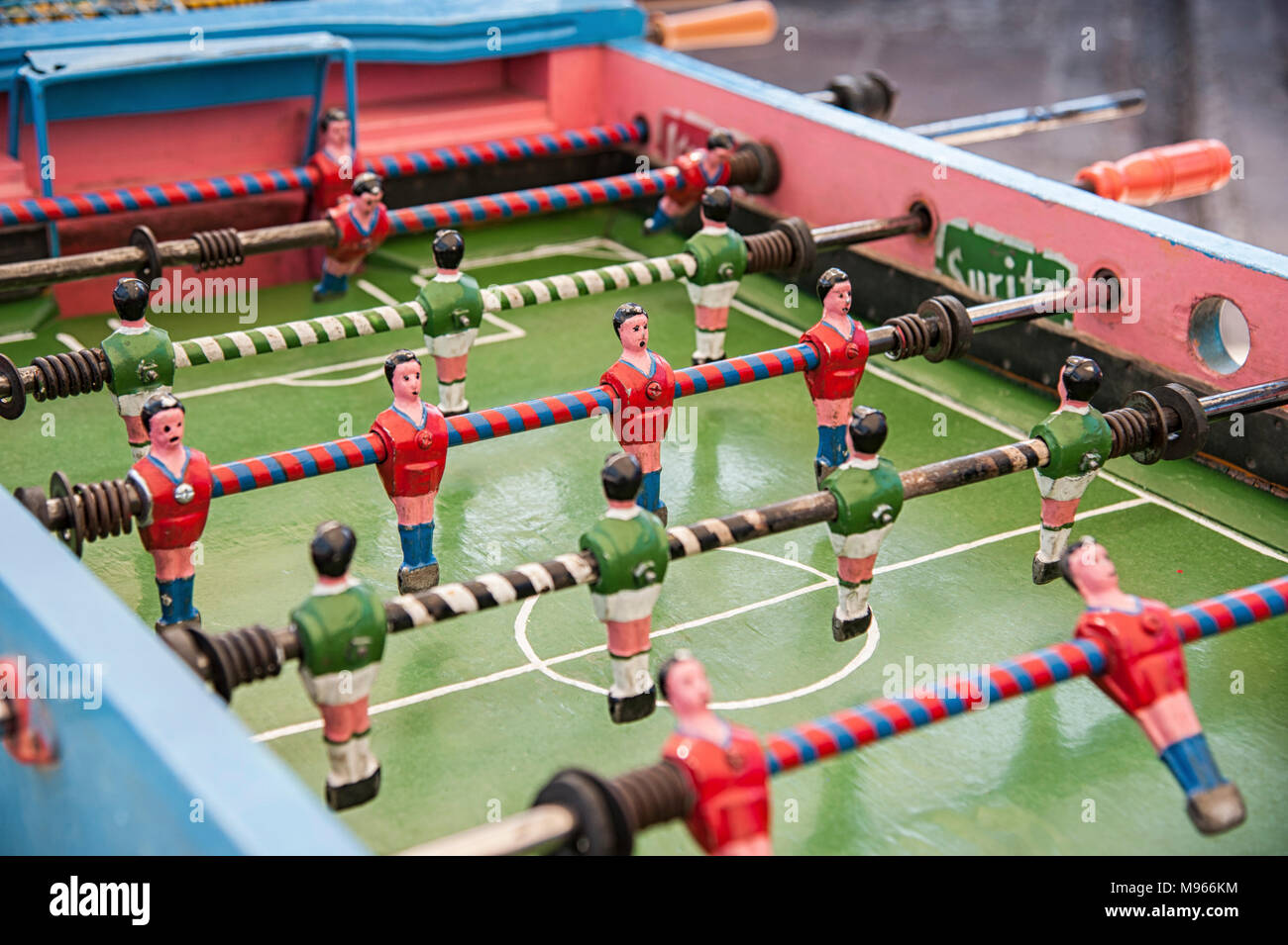 Ancient and vintage Bolivian old wood classic aged Football soccer table - Sucre, Bolivia - Stock Image