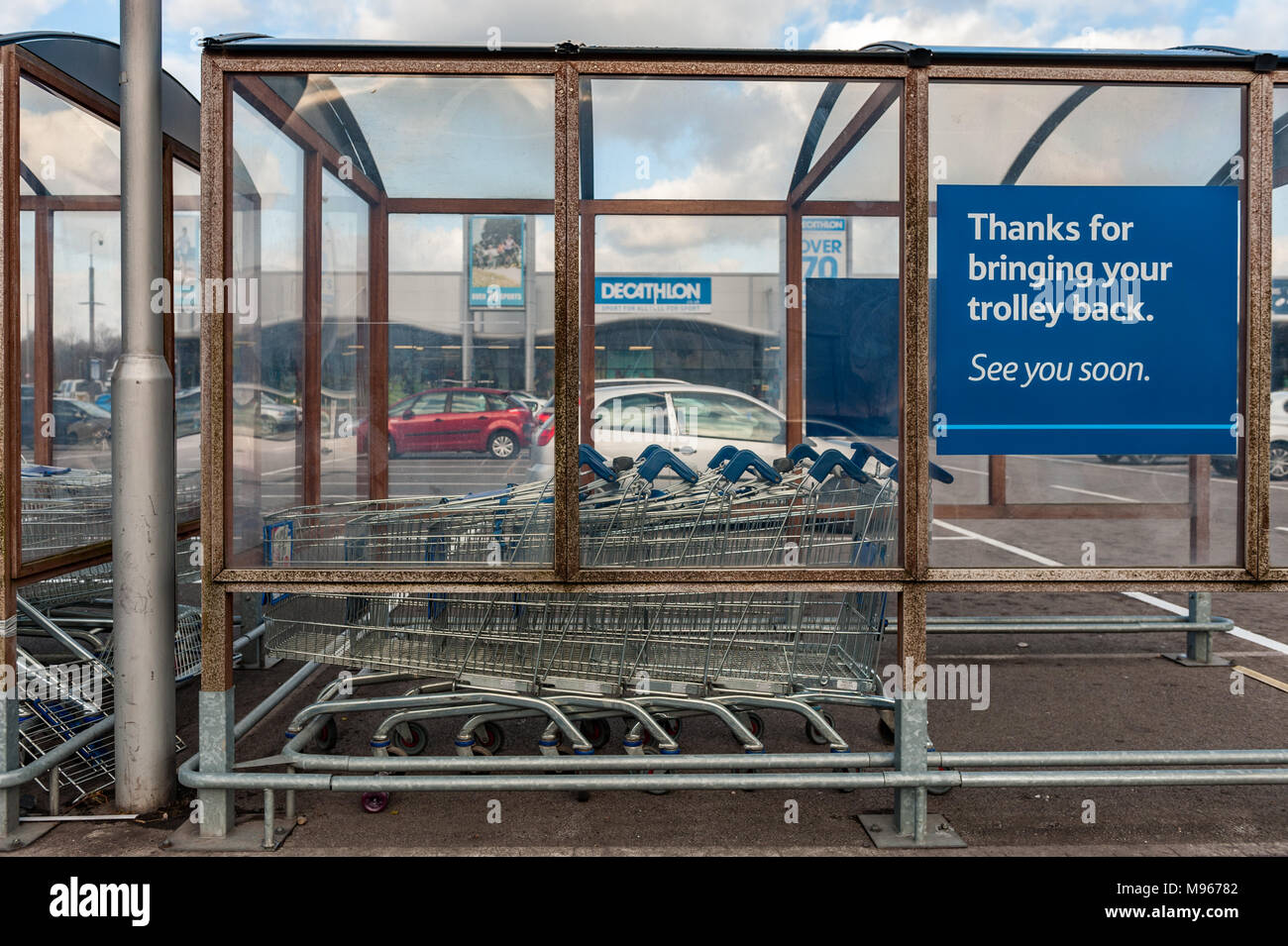Trolley Park at Arena Park Shopping Centre, Coventry, UK. Stock Photo