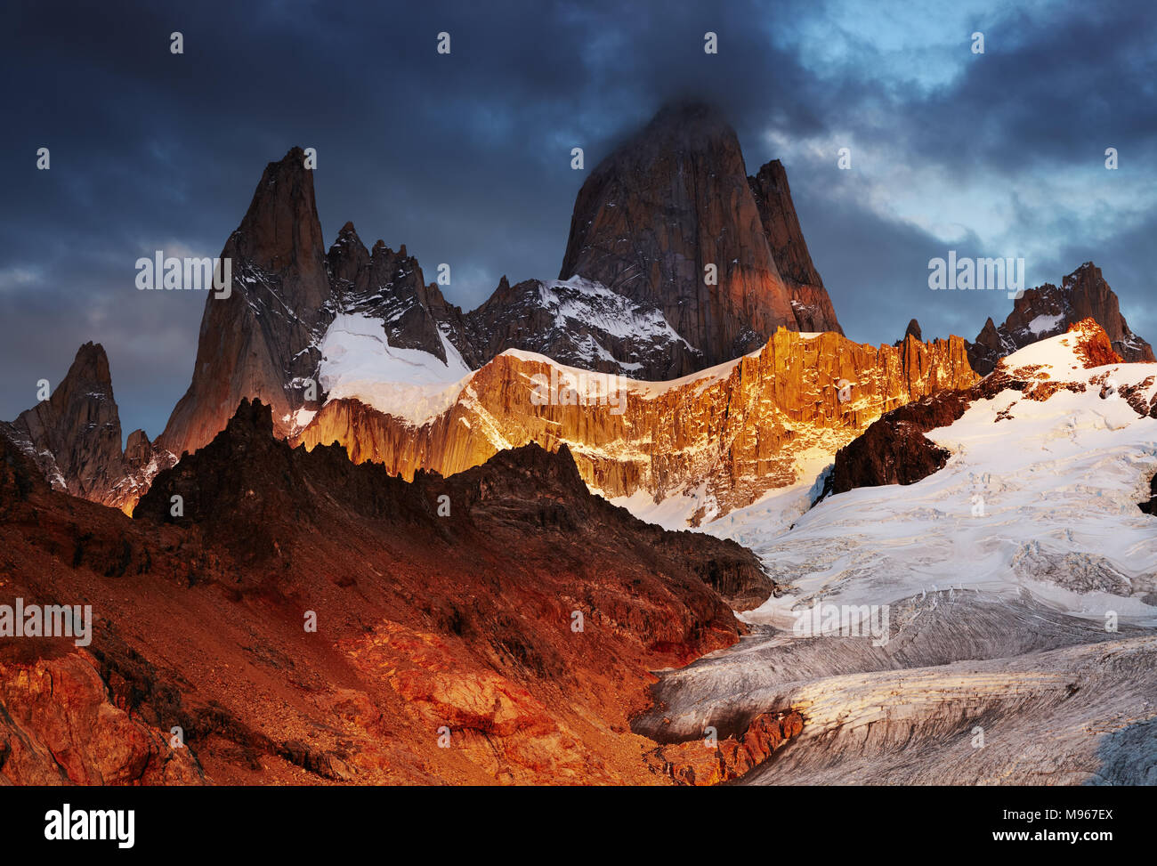 Mount Fitz Roy at sunrise, Patagonia, Argentina - Stock Image
