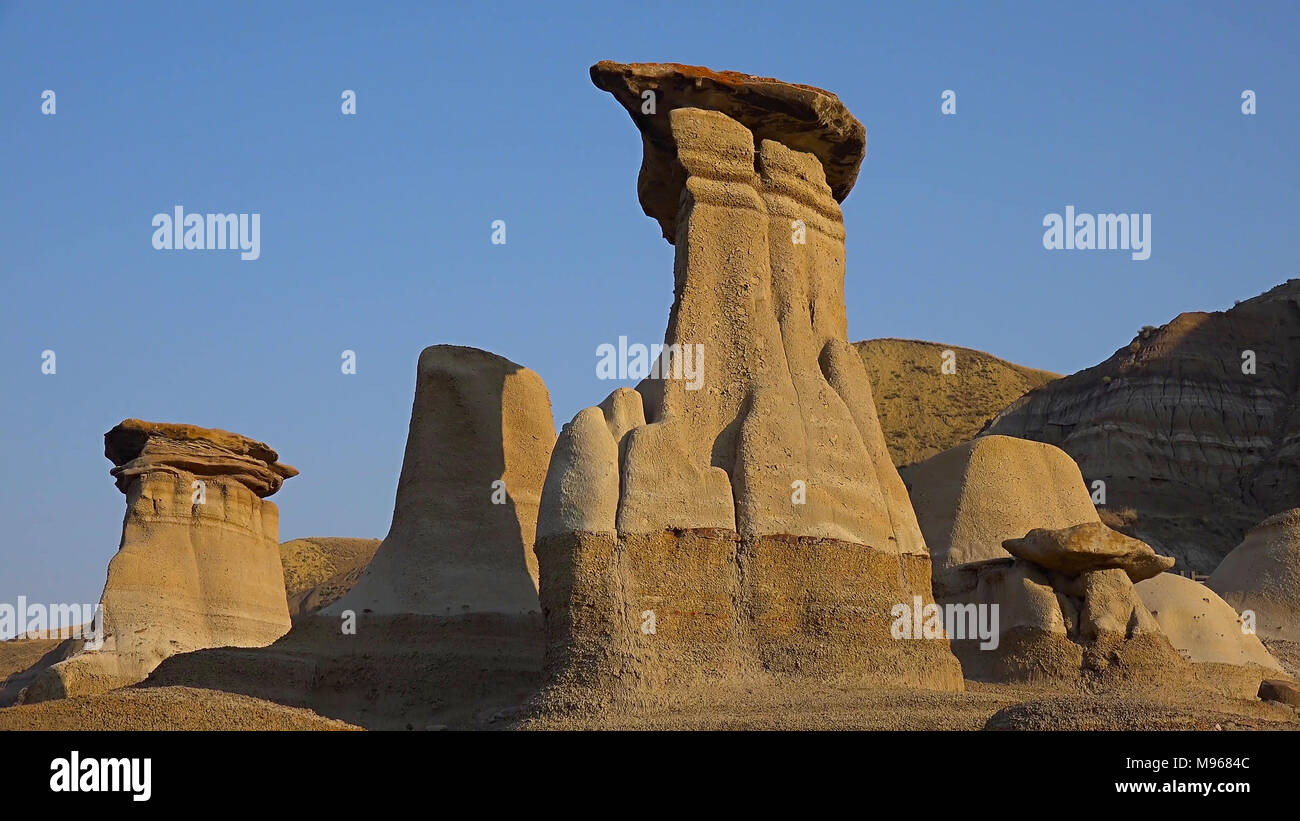 Drumheller Alberta Badlnds Hoodoos Sandstone Formations on a Shale base, believed to be petrified giants by the Blackfoot and Cree. - Stock Image