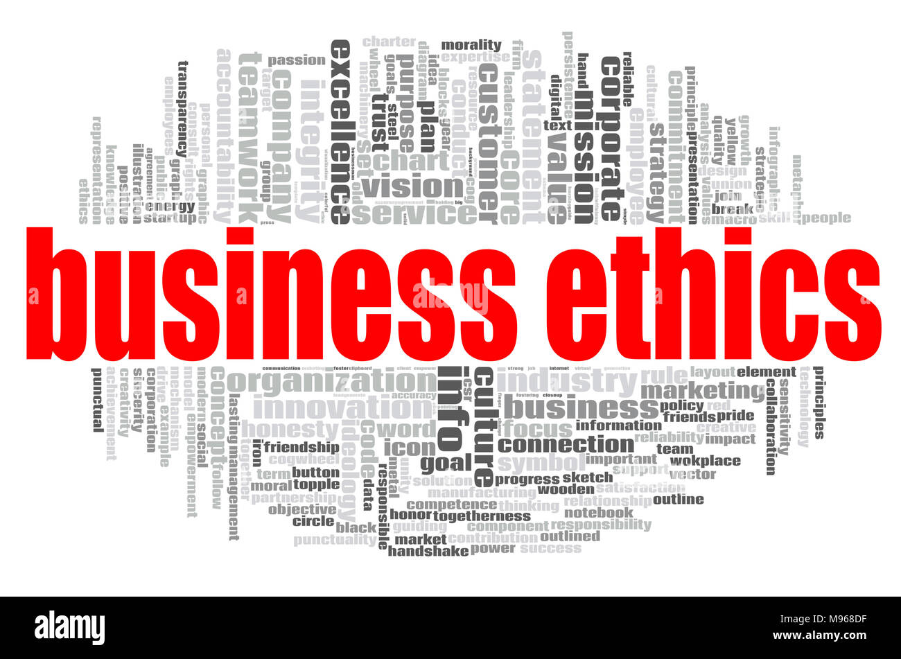 Business Ethics word cloud concept on white background, 3d rendering. - Stock Image