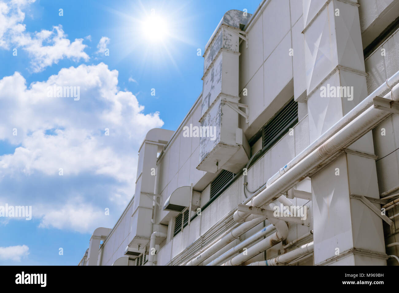 Exterior of Industrial Airflow in factory, Air duct, Danger and the cause of pneumonia of worker - Stock Image
