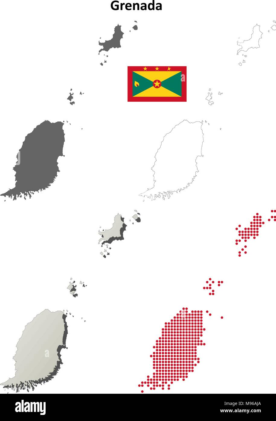 Grenada outline map set  - Stock Vector