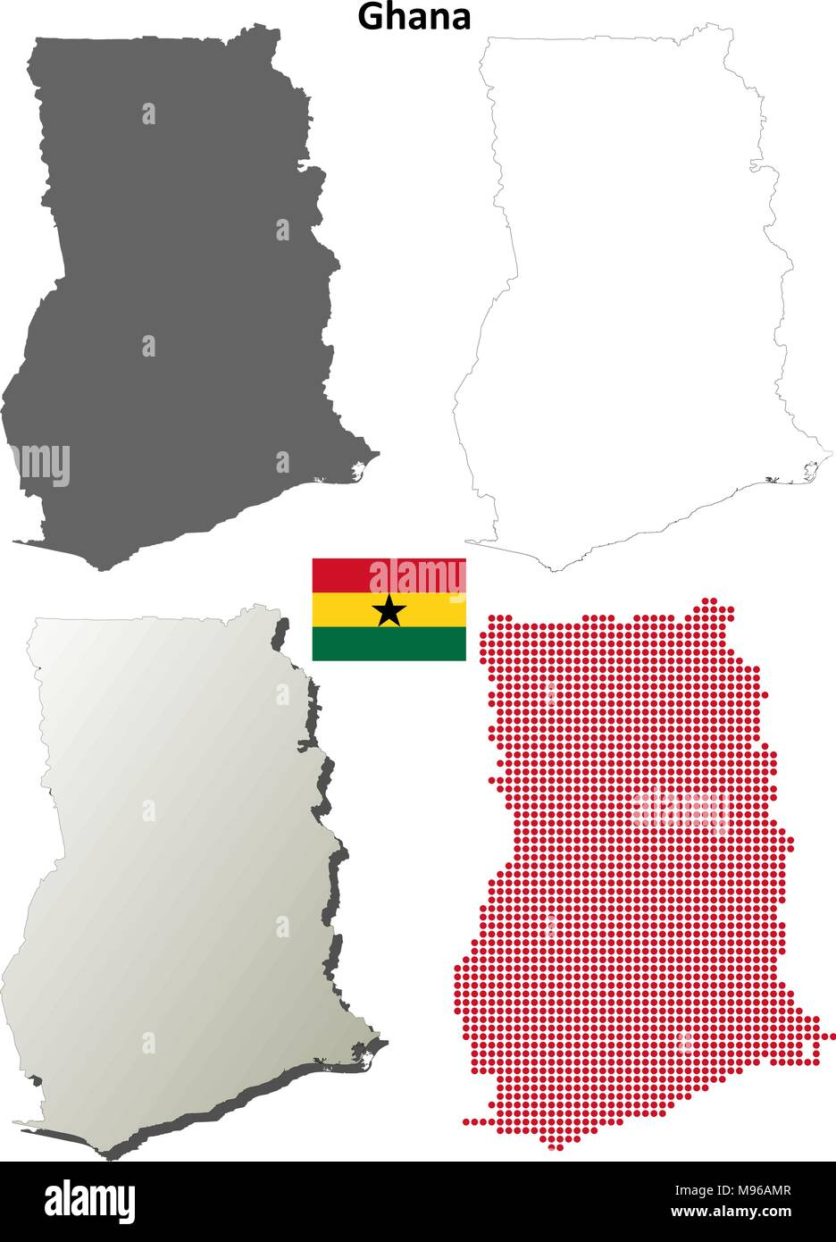 Ghana outline map set  - Stock Vector