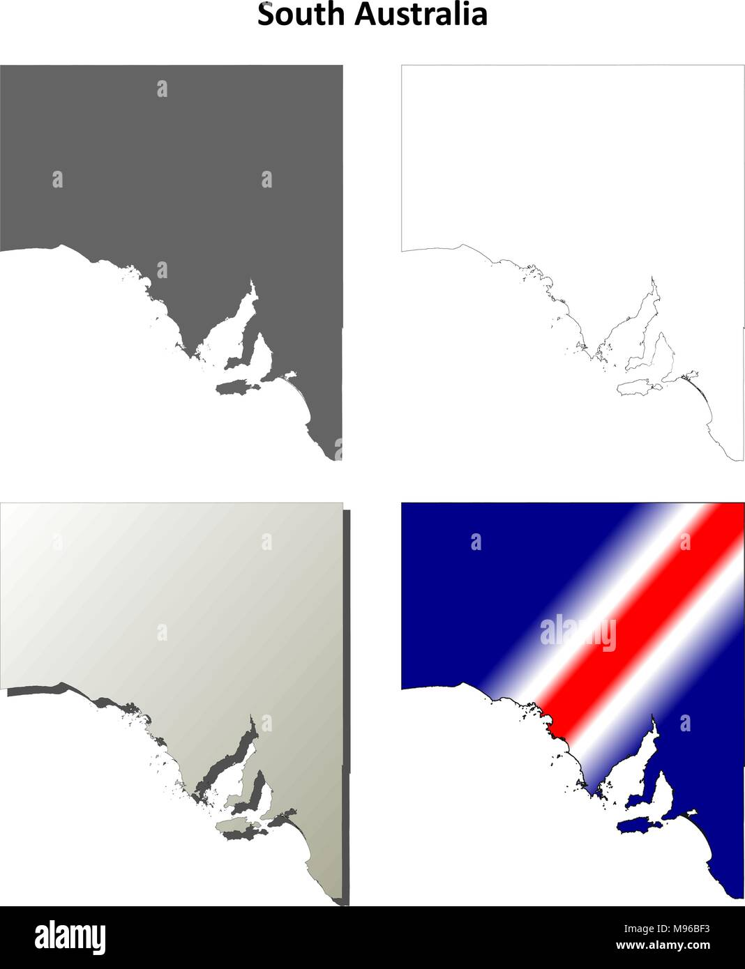 South Australia outline map set  - Stock Vector
