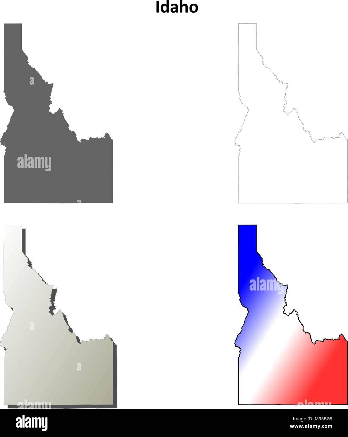 Idaho outline map set  - Stock Vector