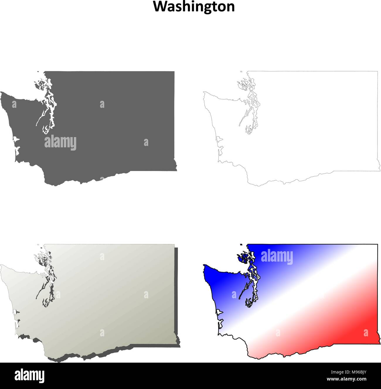 Washington outline map set  - Stock Vector