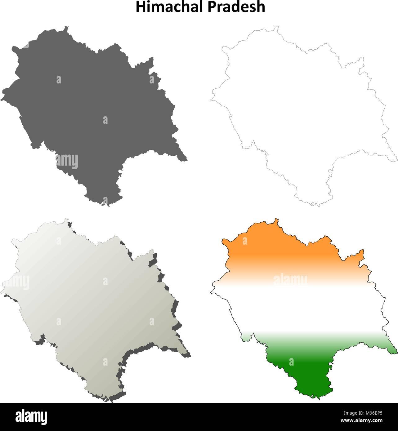 Himachal Pradesh blank outline map set  - Stock Vector