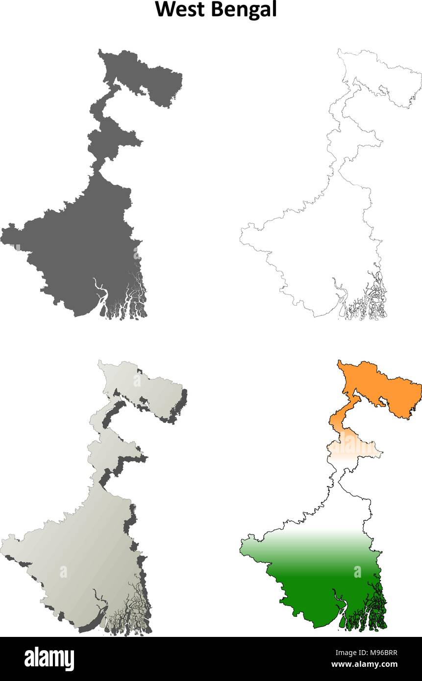 West Bengal blank outline map set  - Stock Vector